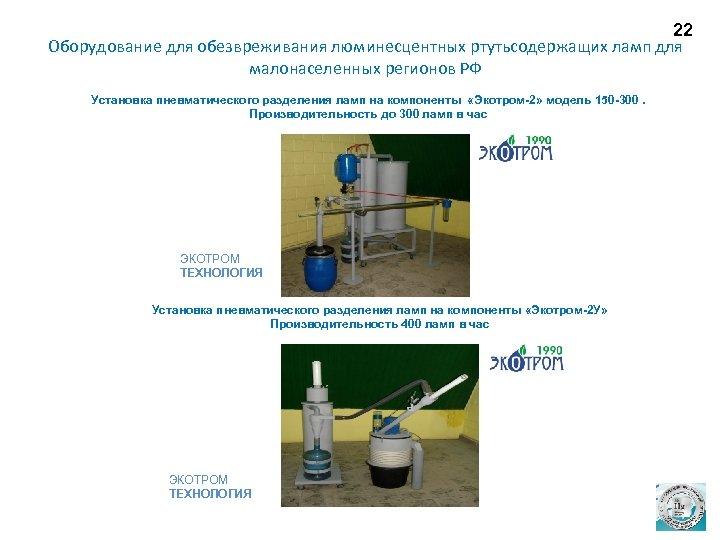 22 Оборудование для обезвреживания люминесцентных ртутьсодержащих ламп для малонаселенных регионов РФ Установка пневматического разделения