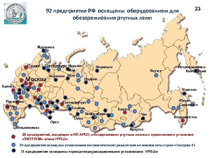 23 92 предприятия РФ оснащены оборудованием для обезвреживания ртутных ламп Мурманск Нарьян. Мар Коряжма