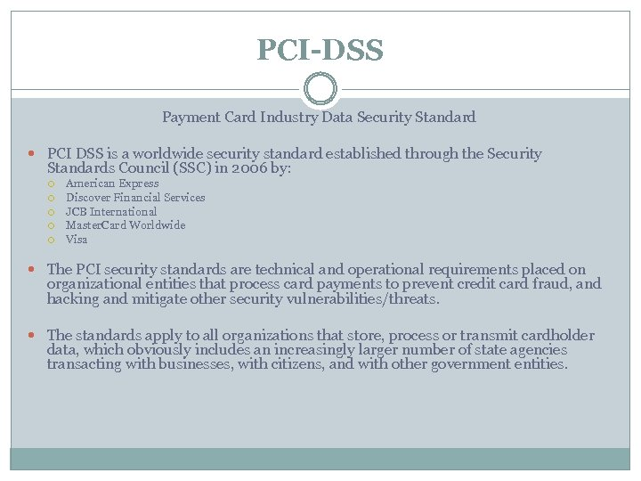 PCI-DSS Payment Card Industry Data Security Standard PCI DSS is a worldwide security standard