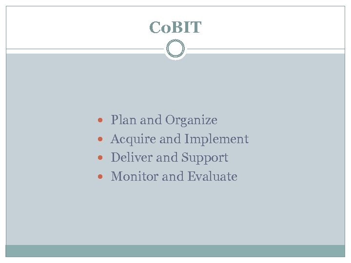 Co. BIT Plan and Organize Acquire and Implement Deliver and Support Monitor and Evaluate