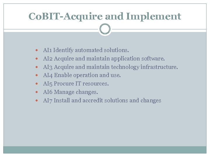 Co. BIT-Acquire and Implement AI 1 Identify automated solutions. AI 2 Acquire and maintain