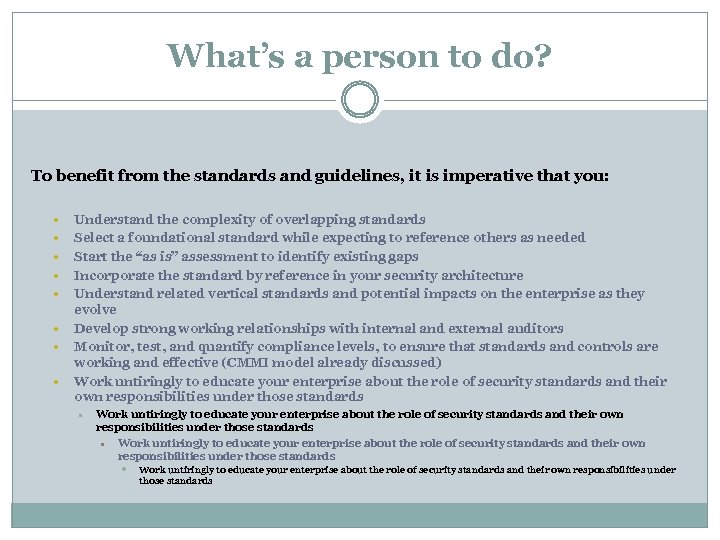 What's a person to do? To benefit from the standards and guidelines, it is