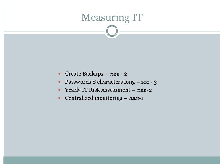 Measuring IT Create Backups – CMMI - 2 Passwords 8 characters long –CMMI -