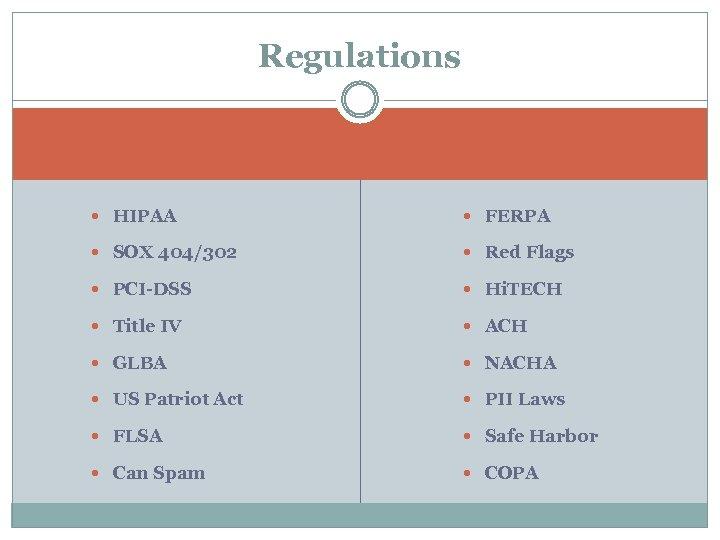 Regulations HIPAA FERPA SOX 404/302 Red Flags PCI-DSS Hi. TECH Title IV ACH GLBA