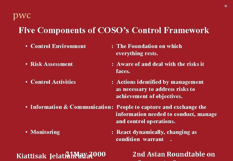 16 pwc Five Components of COSO's Control Framework • Control Environment : The Foundation