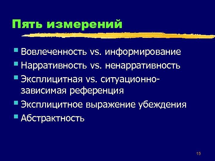 Пять измерений § Вовлеченность vs. информирование § Нарративность vs. ненарративность § Эксплицитная vs. ситуационно-