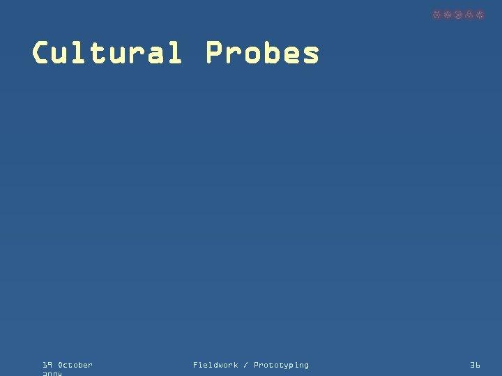 Cultural Probes 19 October Fieldwork / Prototyping 36