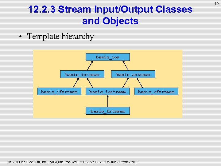 12. 2. 3 Stream Input/Output Classes and Objects • Template hierarchy basic_ios basic_istream basic_ifstream