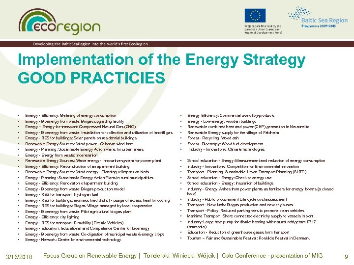 Implementation of the Energy Strategy GOOD PRACTICIES • • • • • • Energy