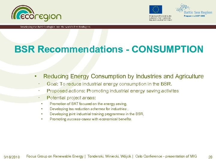 BSR Recommendations - CONSUMPTION • Reducing Energy Consumption by Industries and Agriculture · ·