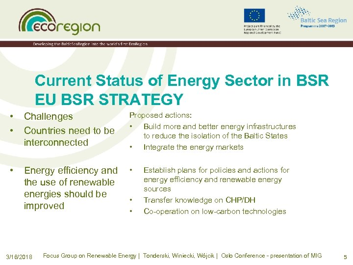 Current Status of Energy Sector in BSR EU BSR STRATEGY • • Challenges Countries