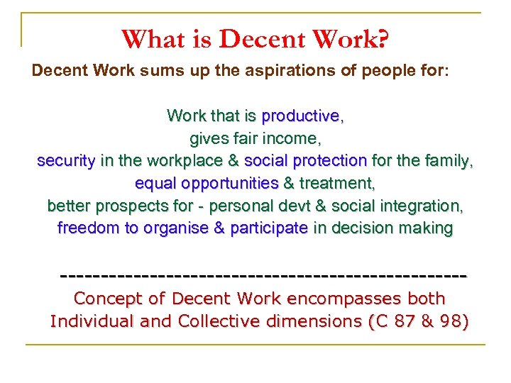 What is Decent Work? Decent Work sums up the aspirations of people for: Work