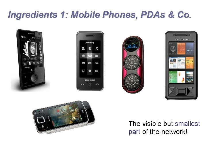 Ingredients 1: Mobile Phones, PDAs & Co. The visible but smallest part of the