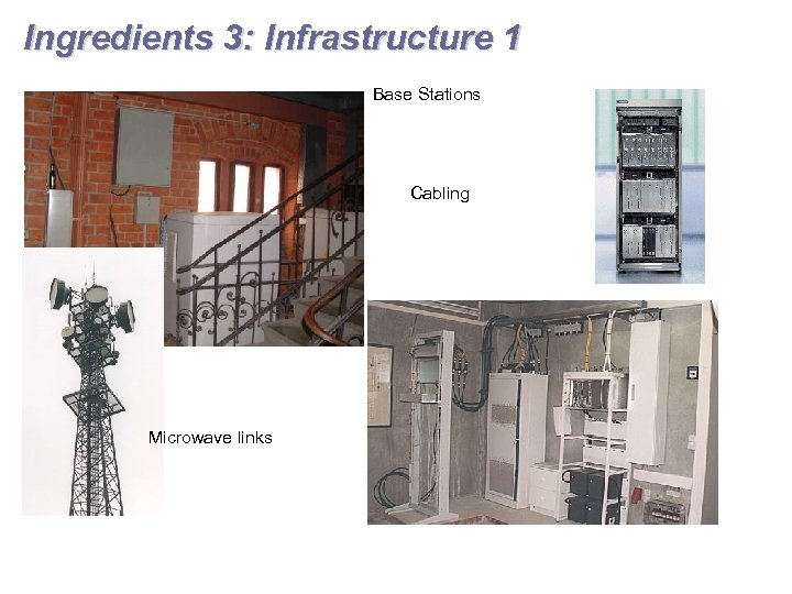 Ingredients 3: Infrastructure 1 Base Stations Cabling Microwave links