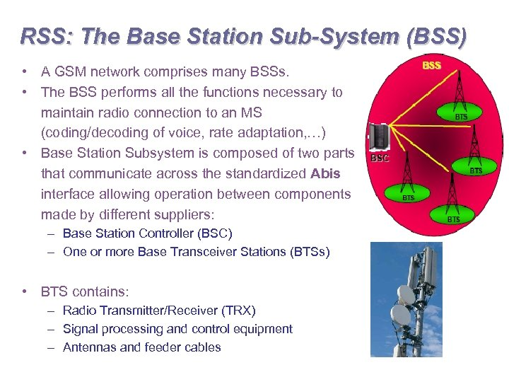 RSS: The Base Station Sub-System (BSS) • A GSM network comprises many BSSs. •