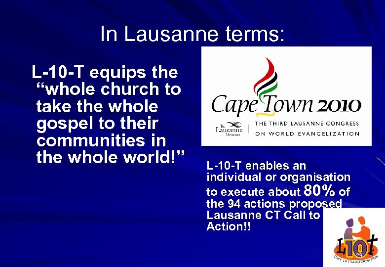 "In Lausanne terms: L-10 -T equips the ""whole church to take the whole gospel"