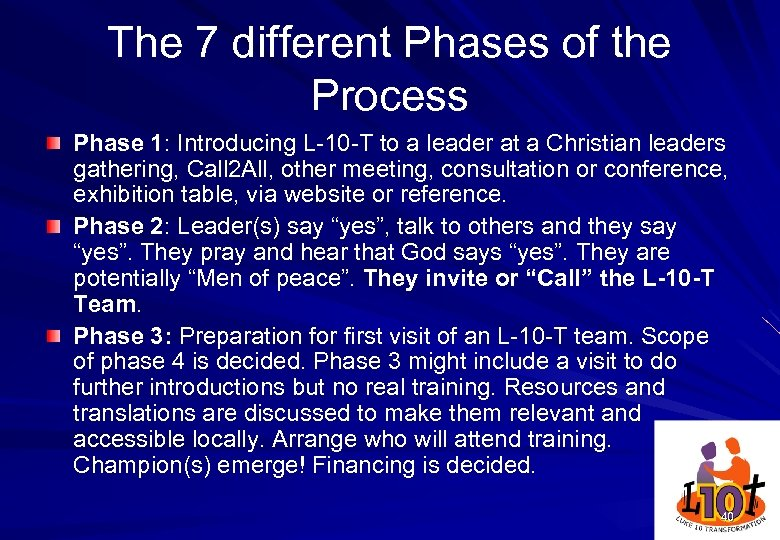 The 7 different Phases of the Process Phase 1: Introducing L-10 -T to a