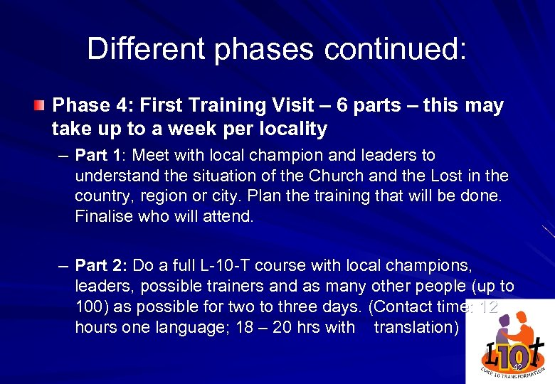 Different phases continued: Phase 4: First Training Visit – 6 parts – this may