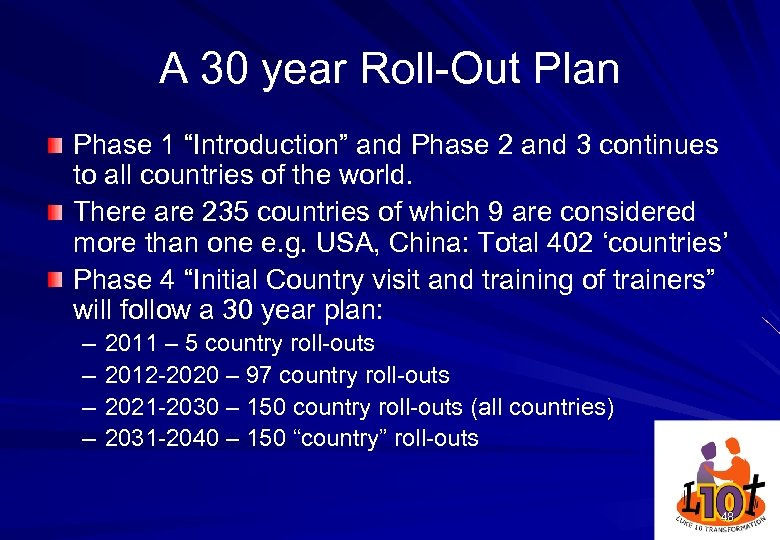 "A 30 year Roll-Out Plan Phase 1 ""Introduction"" and Phase 2 and 3 continues"