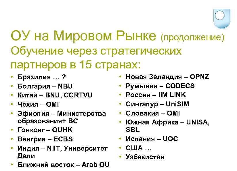 ОУ на Мировом Рынке (продолжение) Обучение через стратегических партнеров в 15 странах: • •