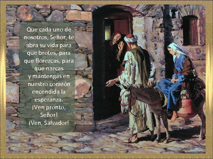 Que cada uno de nosotros, Señor, te abra su vida para que brotes, para