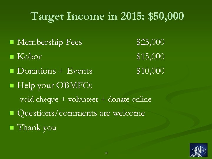Target Income in 2015: $50, 000 n Membership Fees $25, 000 n Kobor $15,