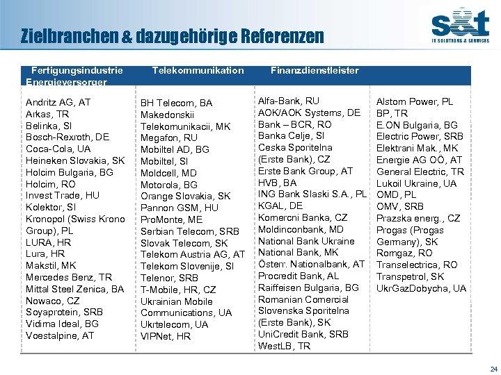 Zielbranchen & dazugehörige Referenzen Fertigungsindustrie Energieversorger Telekommunikation Andritz AG, AT Arkas, TR Belinka, SI