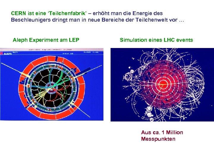 CERN ist eine 'Teilchenfabrik' – erhöht man die Energie des Beschleunigers dringt man in