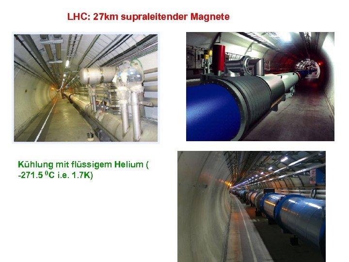 LHC: 27 km supraleitender Magnete Kühlung mit flüssigem Helium ( -271. 5 0 C
