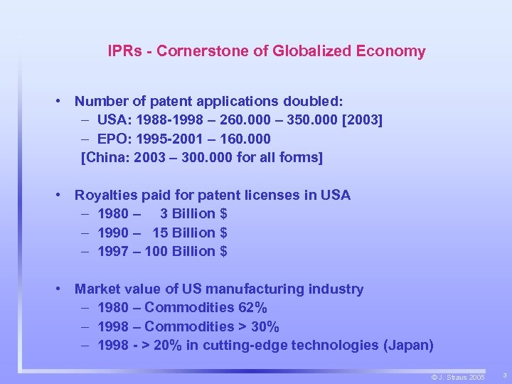 IPRs - Cornerstone of Globalized Economy • Number of patent applications doubled: – USA: