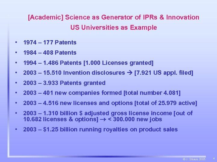 [Academic] Science as Generator of IPRs & Innovation US Universities as Example • 1974