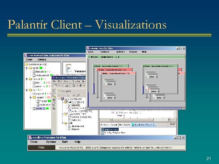 Palantír Client – Visualizations 21