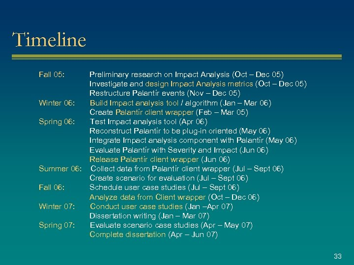 Timeline Fall 05: Preliminary research on Impact Analysis (Oct – Dec 05) Investigate and