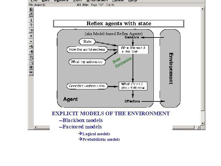 (aka Model-based Reflex Agents) te on Sta imati Est EXPLICIT MODELS OF THE ENVIRONMENT