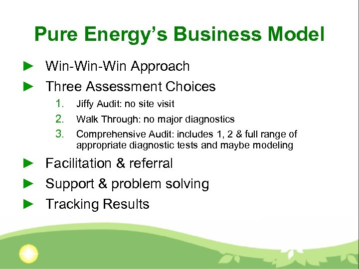 Pure Energy's Business Model ► Win-Win Approach ► Three Assessment Choices 1. 2. 3.