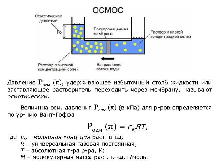 Давление Росм (π), удерживающее избыточный столб жидкости или заставляющее растворитель переходить через мембрану, называют