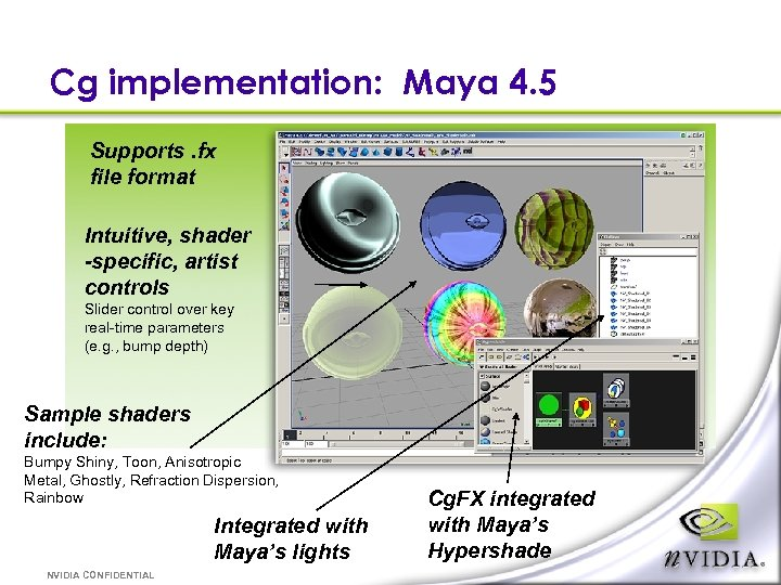 Cg implementation: Maya 4. 5 Supports. fx file format Intuitive, shader -specific, artist controls