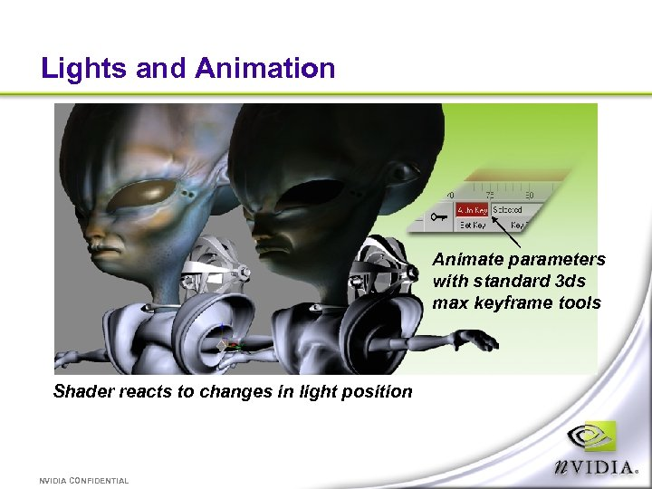 Lights and Animation Animate parameters with standard 3 ds max keyframe tools Shader reacts