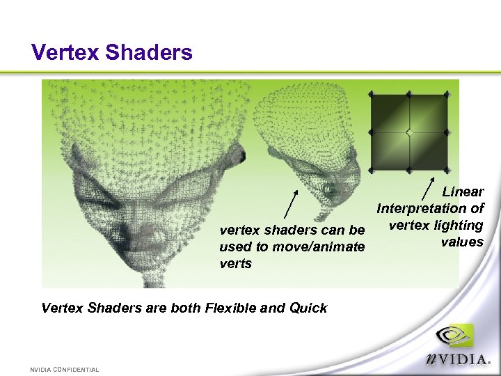 Vertex Shaders Linear Interpretation of vertex lighting vertex shaders can be values used to