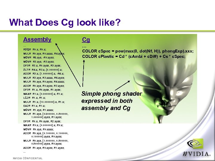 What Does Cg look like? Assembly Cg … … COLOR c. Spec = pow(max(0,