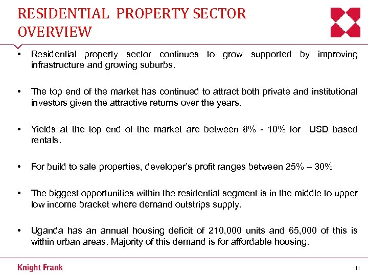 RESIDENTIAL PROPERTY SECTOR OVERVIEW • Residential property sector continues to grow supported by improving
