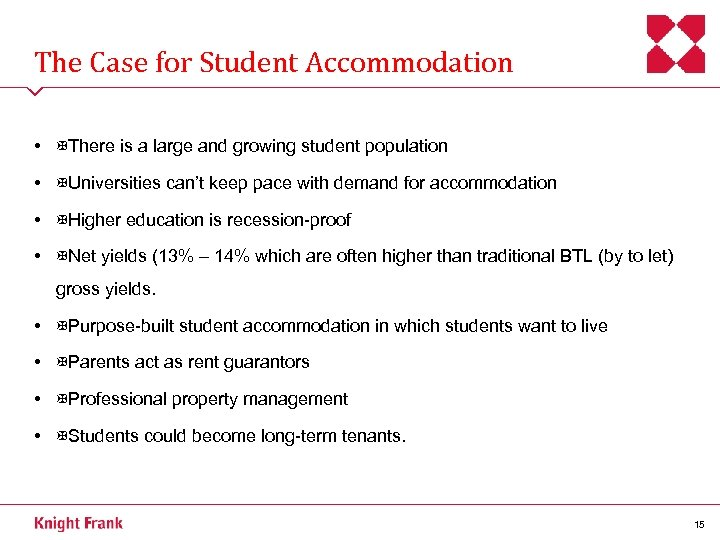 The Case for Student Accommodation • There is a large and growing student population