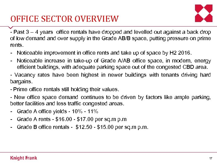 OFFICE SECTOR OVERVIEW - Past 3 – 4 years office rentals have dropped and