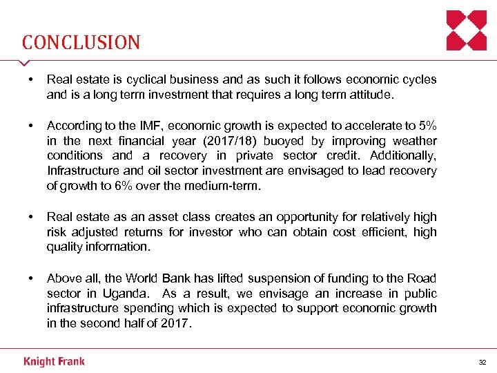 CONCLUSION • Real estate is cyclical business and as such it follows economic cycles