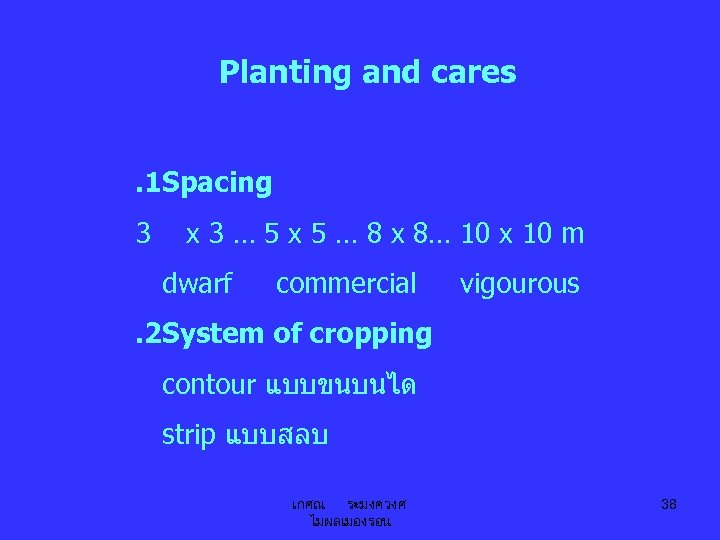 Planting and cares. 1 Spacing 3 x 3 … 5 x 5 … 8