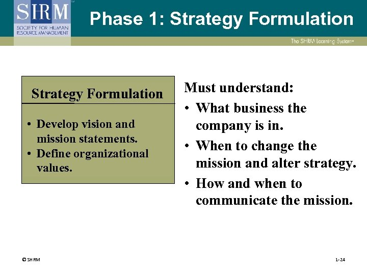 Phase 1: Strategy Formulation • Develop vision and mission statements. • Define organizational values.