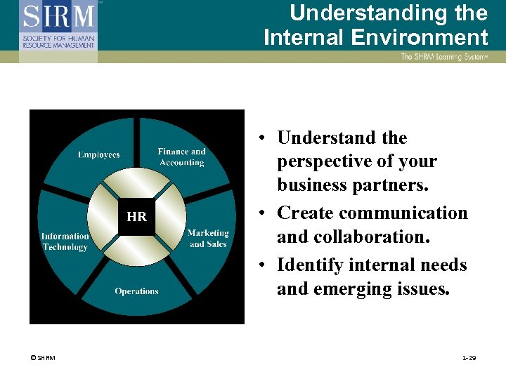 Understanding the Internal Environment • Understand the perspective of your business partners. • Create