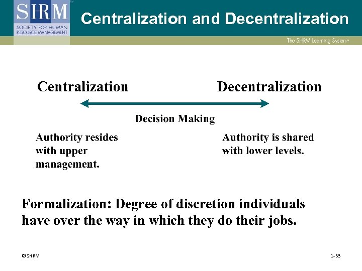Centralization and Decentralization Formalization: Degree of discretion individuals have over the way in which