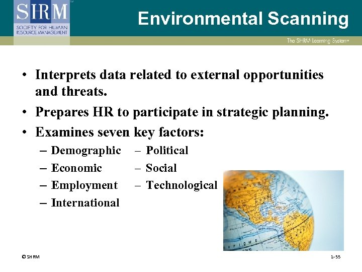 Environmental Scanning • Interprets data related to external opportunities and threats. • Prepares HR