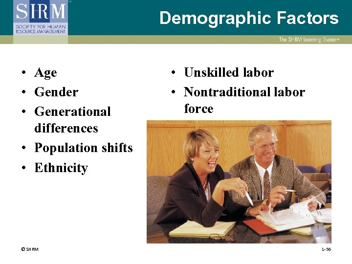 Demographic Factors • Age • Gender • Generational differences • Population shifts • Ethnicity